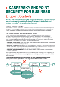KASPERSKY ENDPOINT SECURITY FOR BUSINESS CONTROL TOOLS - DATASHEET